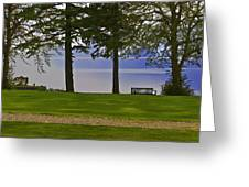 A Bench And Path On The Shore Of Loch Ness In Scotland Greeting Card