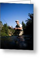 A Fly-fisherman In The Truckee River Greeting Card