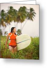 A Woman Carries A Surfboard To The Beach Greeting Card