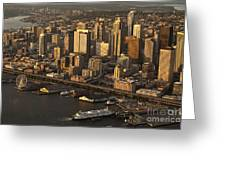 Aerial View Of Seattle Skyline Along Waterfront Greeting Card