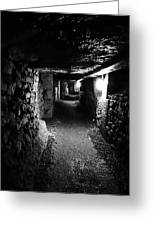 A Tunnel In The Catacombs Of Paris France Greeting Card