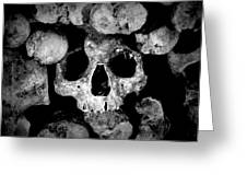 Altered Image Of Skulls And Bones In The Catacombs Of Paris France Greeting Card