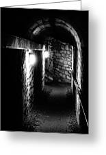 Altered Image Of The Catacomb Tunnels In Paris France Greeting Card