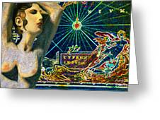 Ancient Cyprus Map And Aphrodite Greeting Card