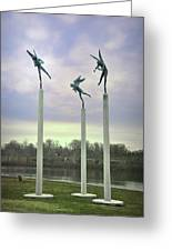 3 Angels Statue Philadelphia Greeting Card