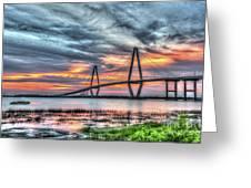 Arthur Ravenel Bridge Stormy Skies Greeting Card