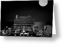 B/w Log Cabin And Outhouse Scene With The Classic Old Vintage 1908 Model T Ford Greeting Card