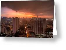 Bangkok City Skyline At Sunset Greeting Card