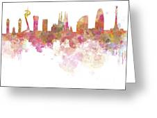Barcelona Skyline In Watercolour On White Background Greeting Card