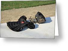 Baseball Glove And Chest Protector Greeting Card