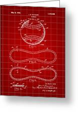 Baseball Patent 1927 - Red Greeting Card