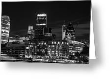 Beautiful Black And White Image Of London City At Night With Lov Greeting Card