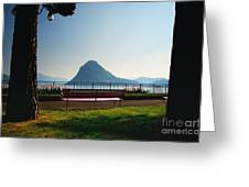 Bench On The Lakefront Greeting Card
