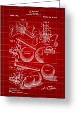 Billiard Bridge Patent 1910 - Red Greeting Card