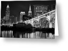 Black And White Cleveland Iconic Scene Greeting Card