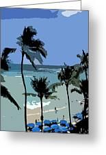 Blue Beach Umbrellas Greeting Card