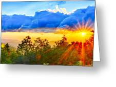 Blue Ridge Parkway Late Summer Appalachian Mountains Sunset West Greeting Card