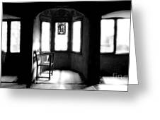 3 Castle Rooms Bw Greeting Card