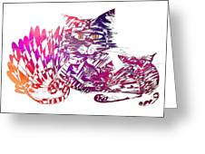 3 Cats Purple Greeting Card