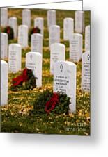Christmas Wreaths Laid At The Arlington Cemetery Greeting Card