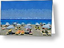 Beach At The City Of Rhodes Greeting Card