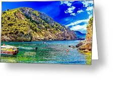 Cliffside Coastline On Corfu Greeting Card