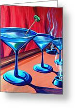 3 Cobalt Martinis On Copper Bar Greeting Card