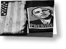 Commercialization Of The President Of The United States Of America In Black And White Greeting Card