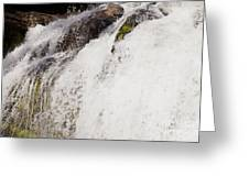 Curtain Of White Water Falling From Rocky Cliff Greeting Card