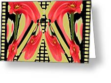 Dancing Tulip Red Exotic Flower Petal Based Wave Pattern  Created By Navinjoshi Reiki Healing Master Greeting Card