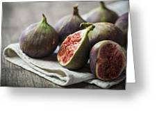 Delicious Figs On Wooden Background Greeting Card