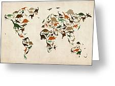 Dinosaur Map Of The World Map Greeting Card