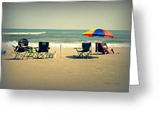 3 Empty Beach Chairs Greeting Card
