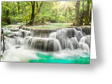 Erawan Waterfall In Kanchanaburi Province Greeting Card