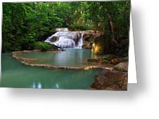 Erawan Waterfall Greeting Card