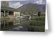 Fallen Tree In Water Pool Inside The Shalimar Garden In Srinagar Greeting Card