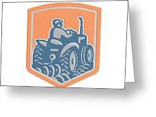 Farmer Driving Tractor Plowing Farm Shield Retro Greeting Card
