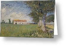 Farmhouse In A Wheat Field Greeting Card