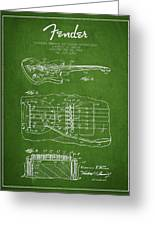 Fender Floating Tremolo Patent Drawing From 1961 - Green Greeting Card