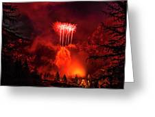 Fireworks Above Toce Falls, Formazza Greeting Card