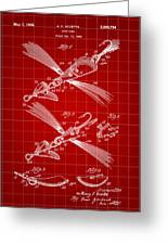 Fish Lure Patent 1933 - Red Greeting Card