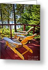 Forest Cottage Deck And Chairs Greeting Card