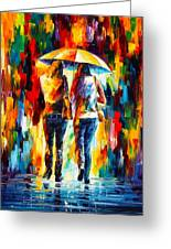 Friends Under The Rain Greeting Card