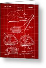 Golf Club Patent 1926 - Red Greeting Card
