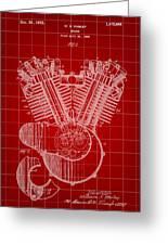 Harley Davidson Engine Patent 1919 - Red Greeting Card