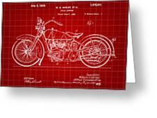 Harley Davidson Motorcycle Patent 1925 - Red Greeting Card