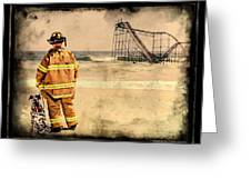Hurricane Sandy Fireman Greeting Card