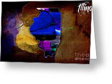 Illinois Map Watercolor Greeting Card