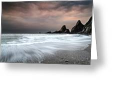 Landscape Seascape Of Jagged And Rugged Rocks On Coastline With  Greeting Card