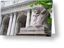 Lion New York Public Library Greeting Card